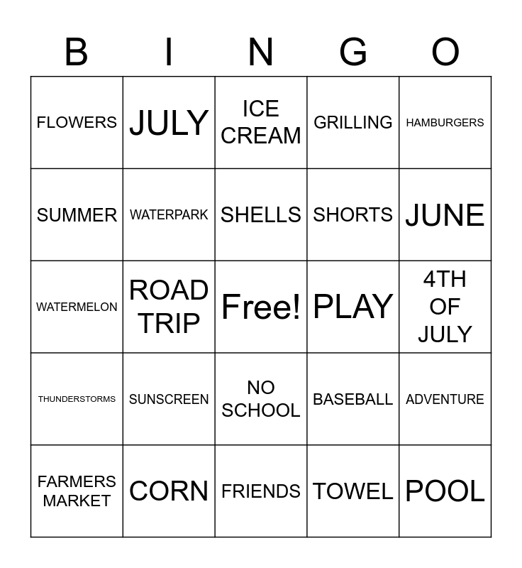 Summer! (for kids) Bingo Card