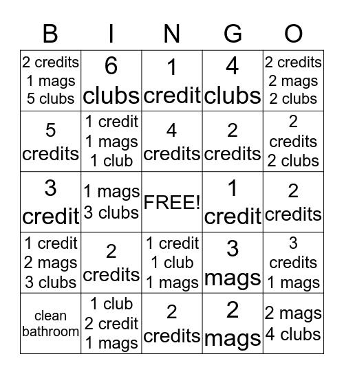 Credit Bingo Card
