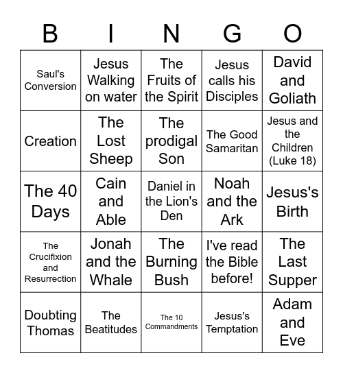 Bible Stories Bingo Card