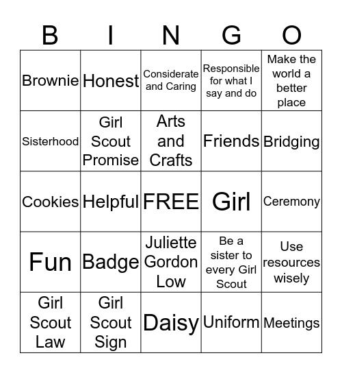 Brownie Bingo Card