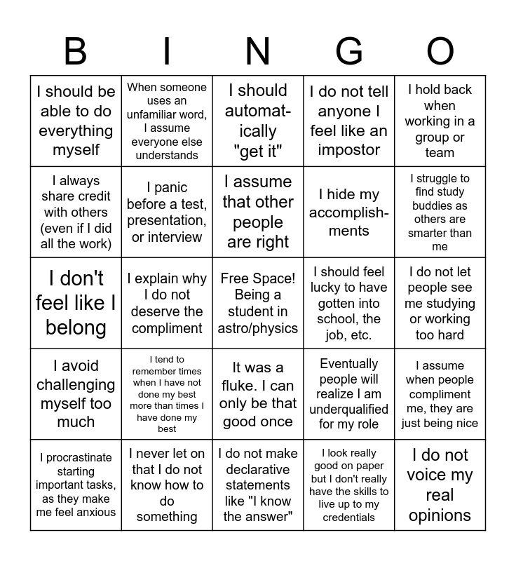 Impostor Syndrome Bingo Card