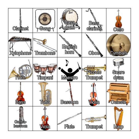 Instrument Bingo! Bingo Card