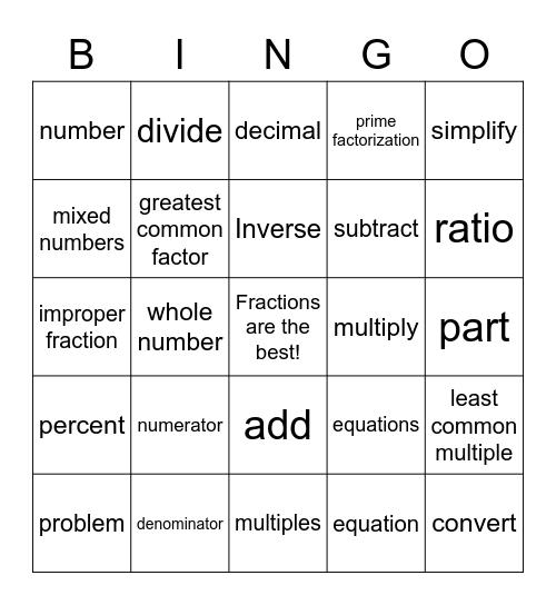Fraction Vocabulary Bingo Card