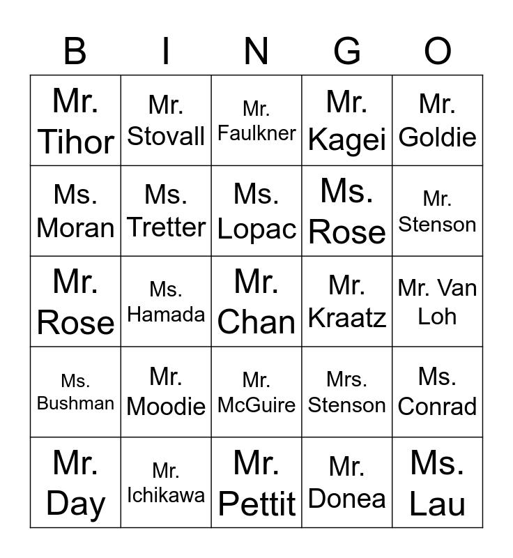 Practice Bingo Card