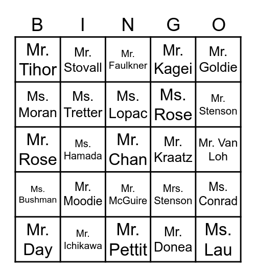 June 5th Assembly Bingo Card