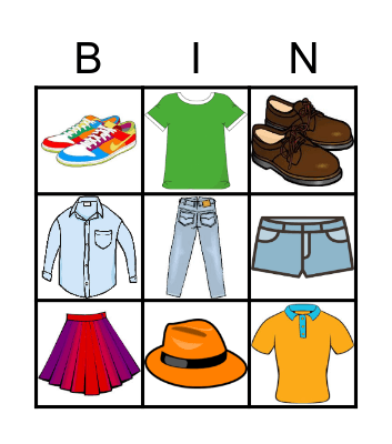 CLOTHES! Bingo Card