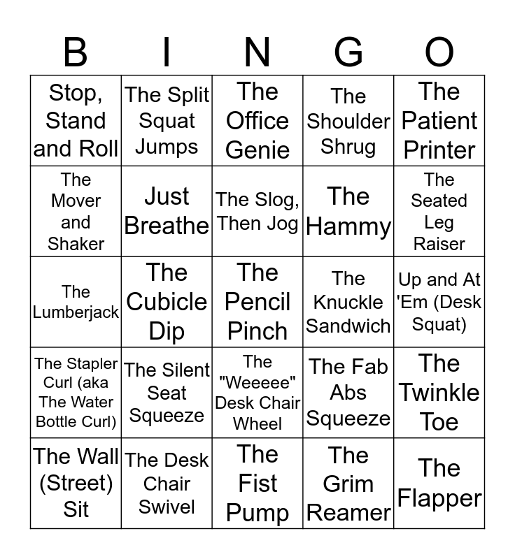 DESKERCISE Bingo Card