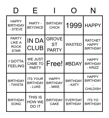 BIRTHDAY/ PARTY SONGS Bingo Card
