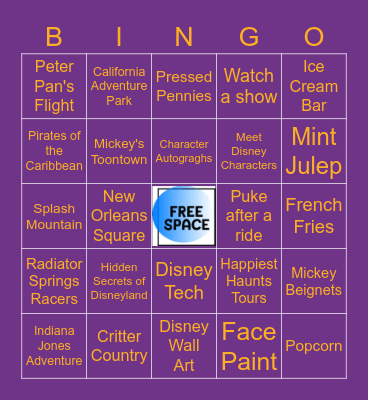 DISNEYLAND Bingo Card