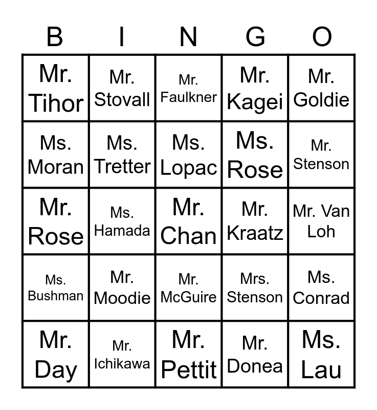 Assembly Bingo Card