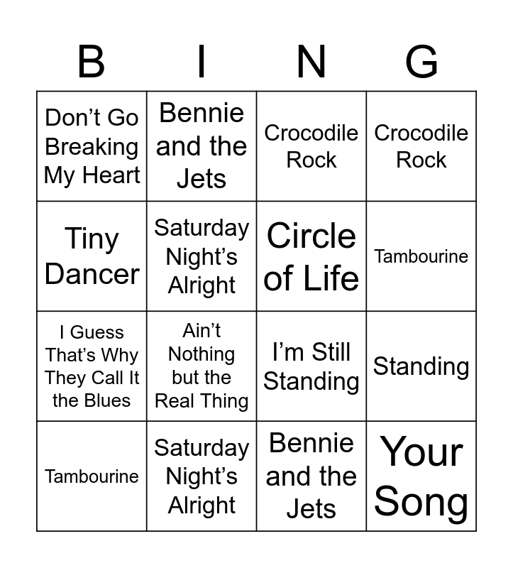 Elton John Bingo Card