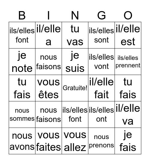 Les Verbes (révision planète 1) Bingo Card