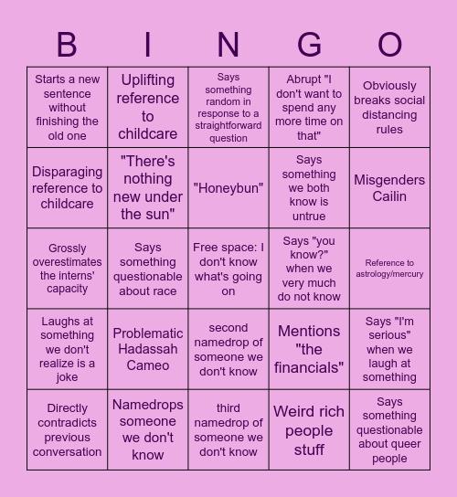 Janice Bingo Card