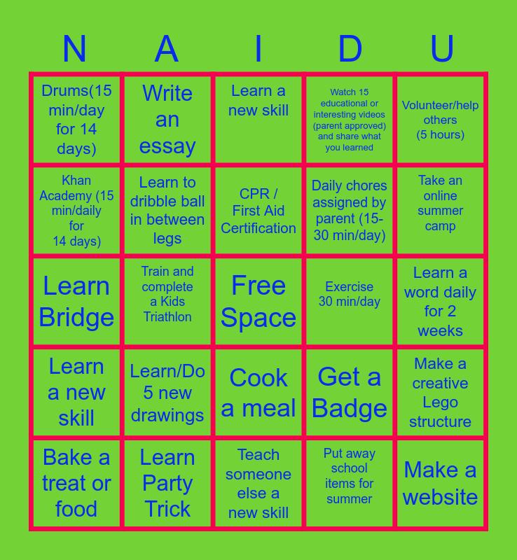 Arjun's 2020 SUMMER CHALLENGE Bingo Card