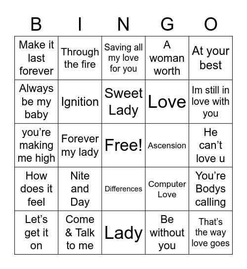 Slow Jams Mix Bingo Card