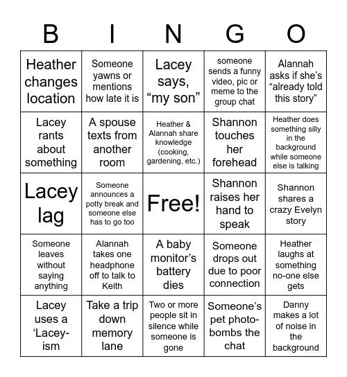 Matron Night Bingo Card