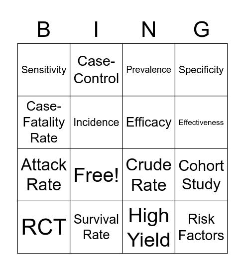 Epidemiology Bingo Card