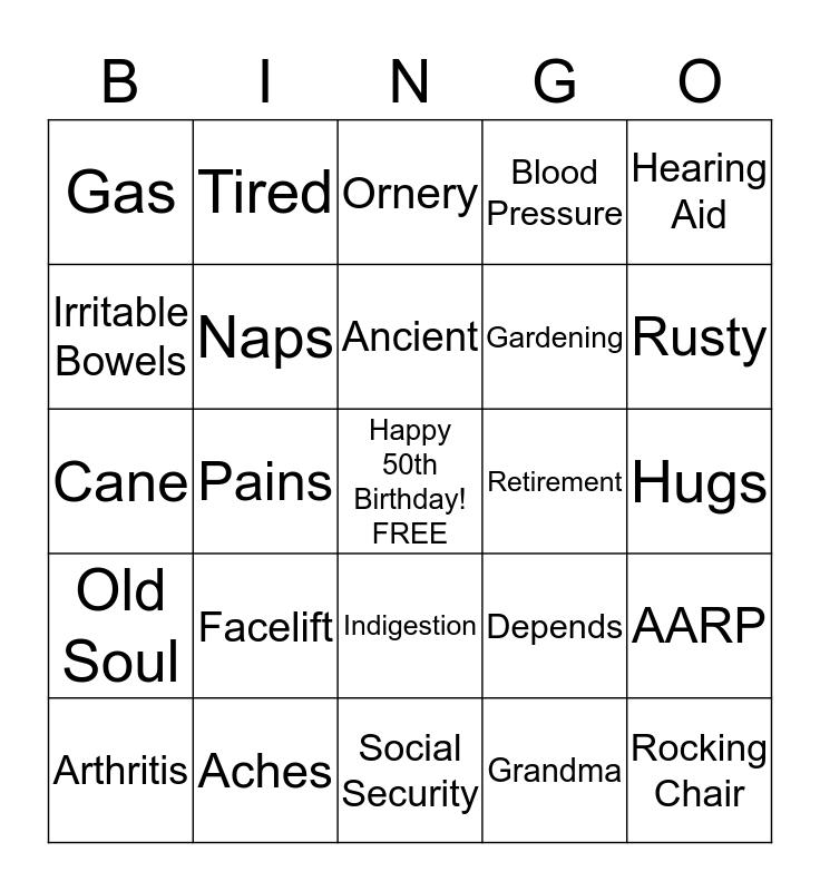 Stacy's 50th Bingo Card