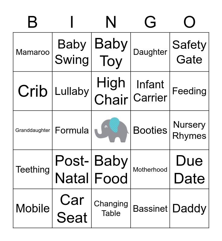 Kuli's Baby Shower Bingo Card