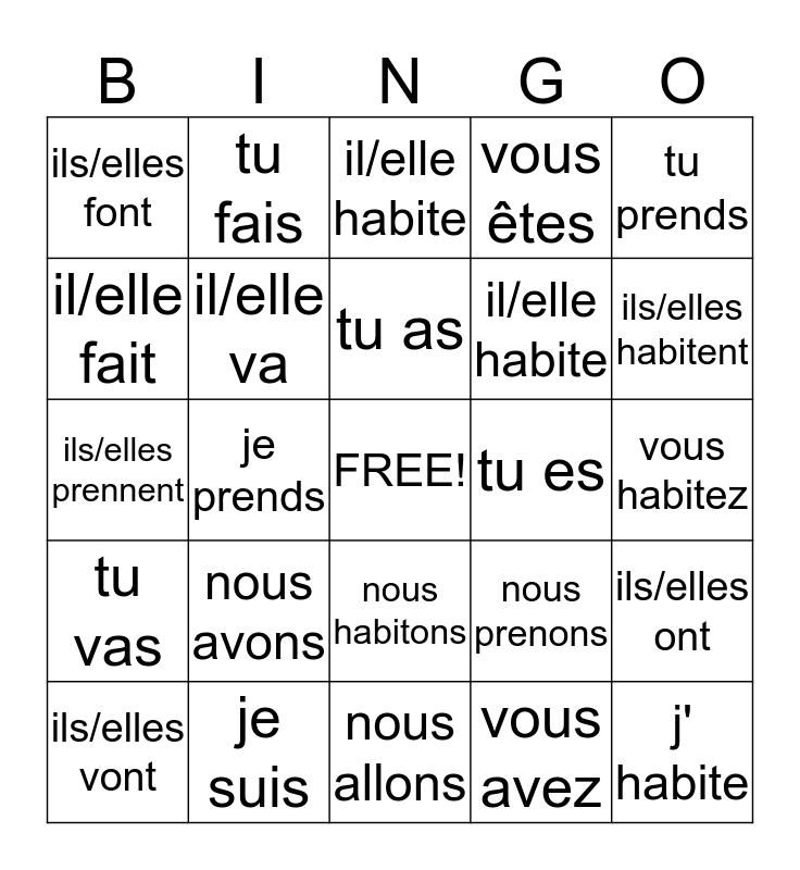 Untitled Bingo Card