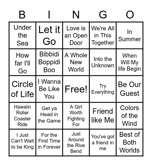 Disney Music Bingo Card