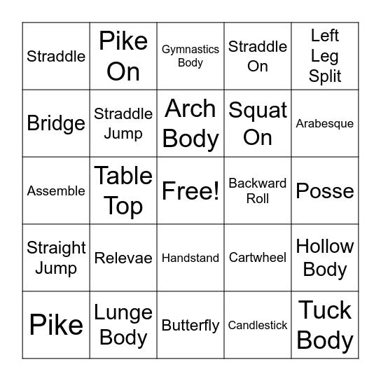 Gymnastics Bingo Card