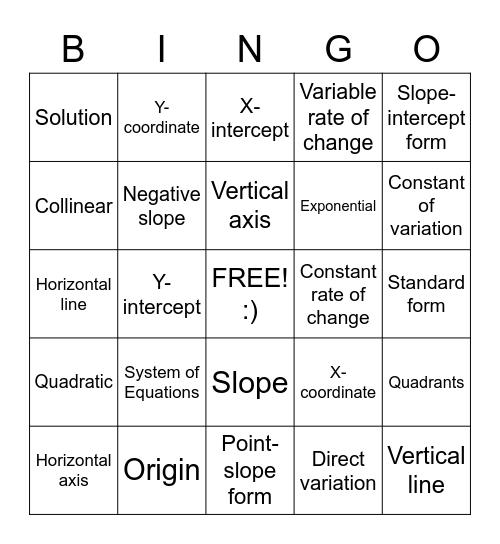 Equations Bingo Card