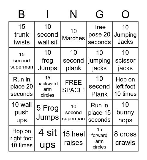 Gross Motor Bingo Card