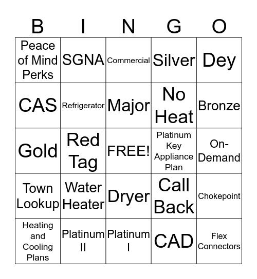 Service Guard Bingo Card