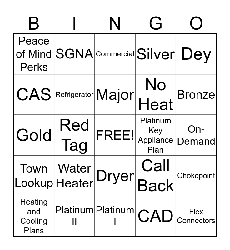 Service Guard Bingo Card