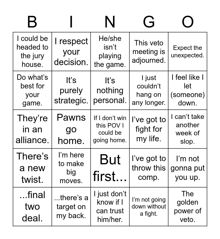Big Brother Bingo Card