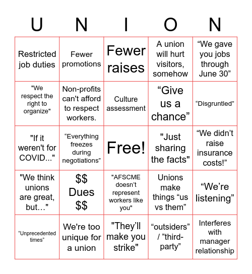 PMA Anti-Union Bingo Card