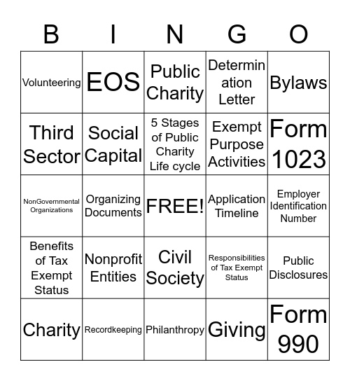 Nonprofit Organization Bingo Card
