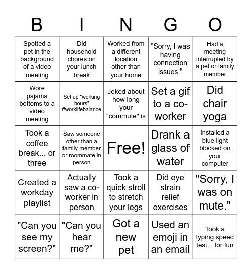 Workflow Bingo Round 1 Bingo Card