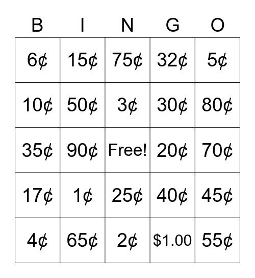 Making Cents! Bingo Card