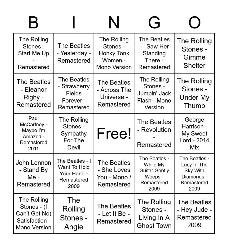 Beatles vs Stones Bingo Card