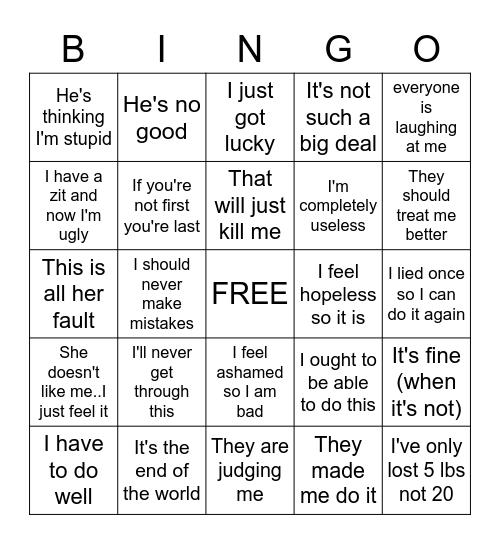 Stinking Thinking Bingo Card