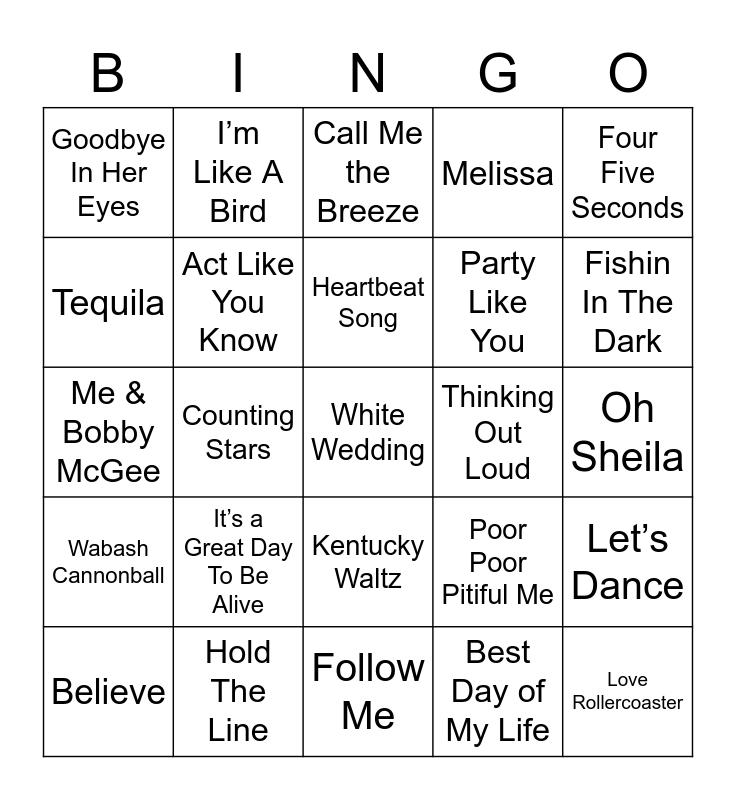 Music Bingo 37 Bingo Card