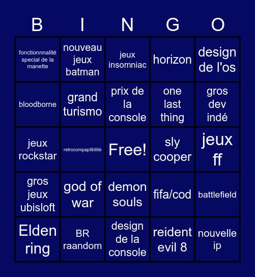 PS5 announcement Bingo Card