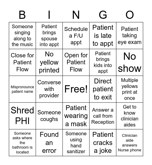 Patient Flow Bingo Card