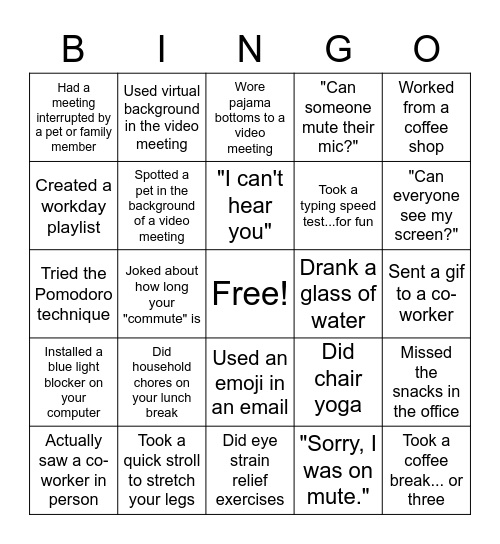 Working from Remote Bingo Card