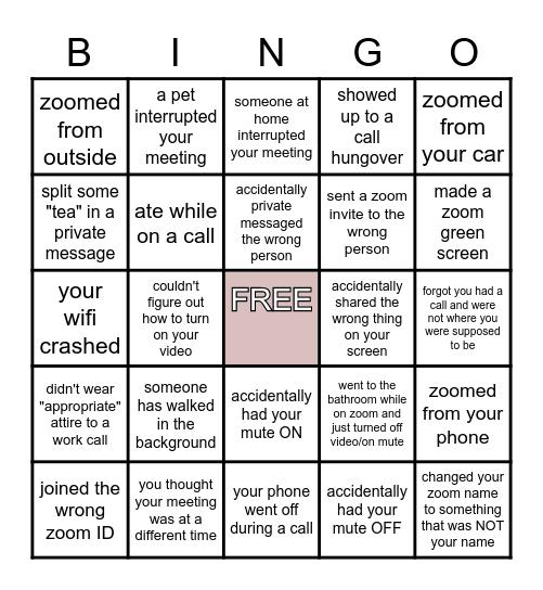 ZOOM BLOOPERS Bingo Card