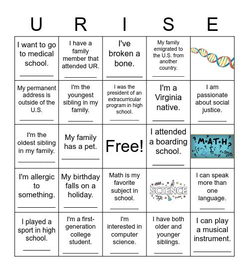 URISE Bingo! Bingo Card