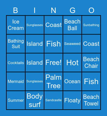 Beach Bingo! Bingo Card