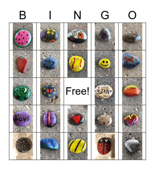 Painted Rocks Bingo Card