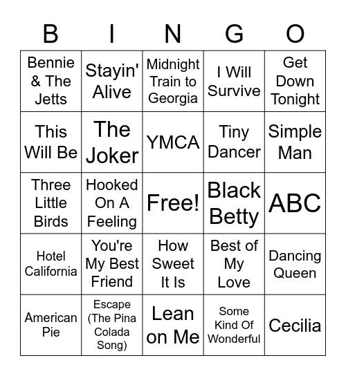 70's Music Bingo Card