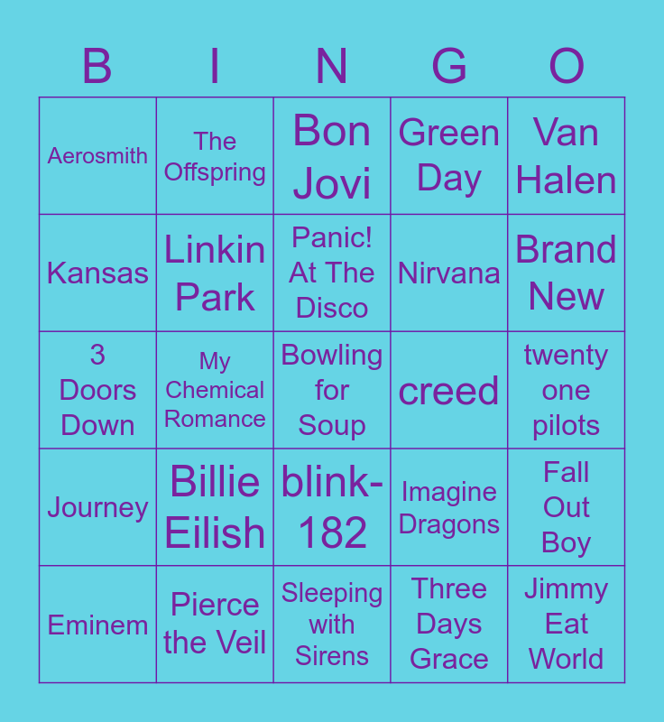 bands that have somehow entered my playlist Bingo Card