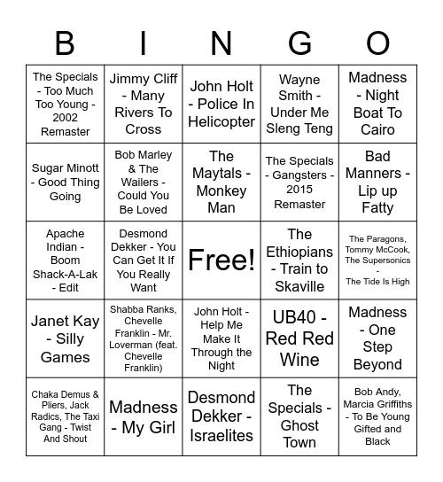 Reggae/SKA Bingo Card