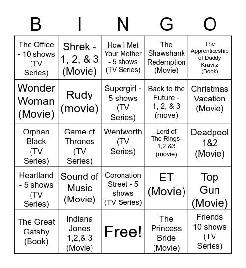 Movie/Book/TV Show Bingo Card