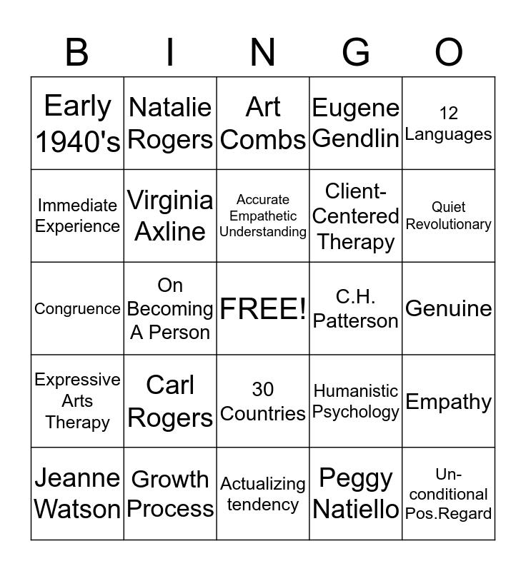Person-Centered Therapy Bingo Card